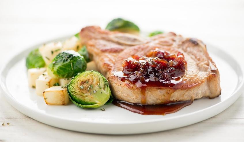 bone in pork chop with cranberry