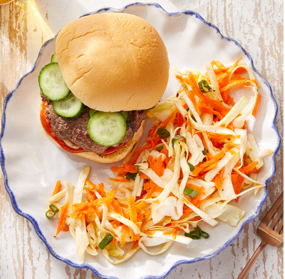 korean burgers with Marinated Cucumber & Sesame-Dressed Slaw